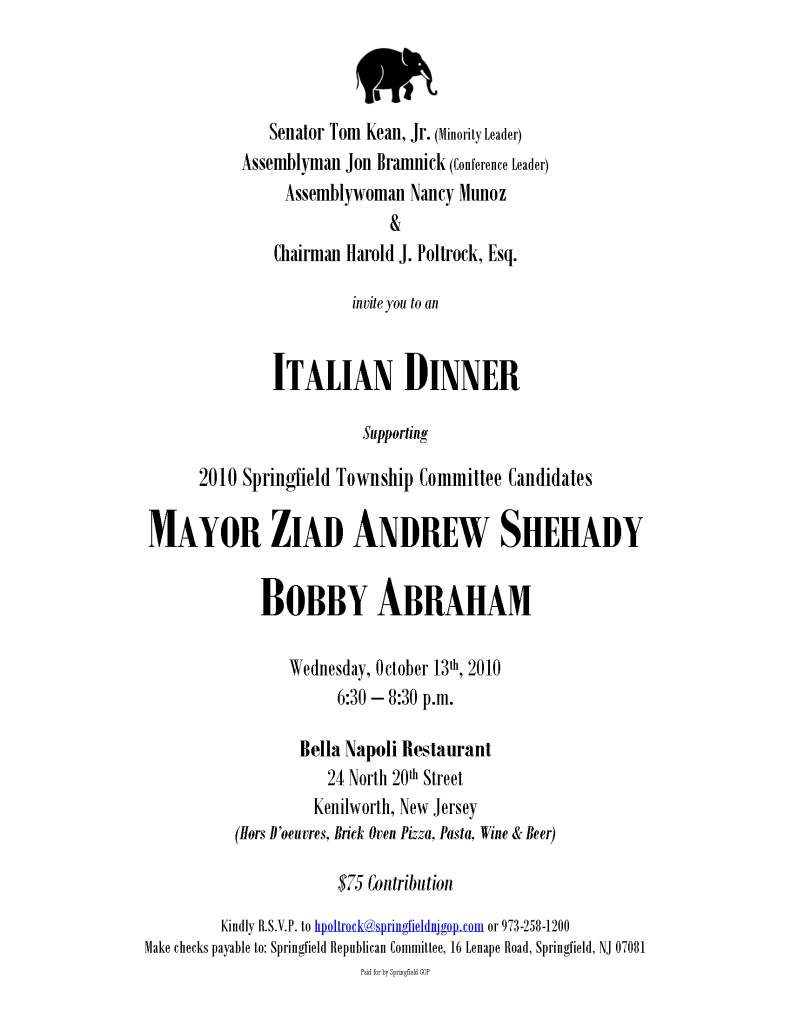 Italian Dinner supporting Mayor Ziad Andrew Shehady & Bobby Abraham