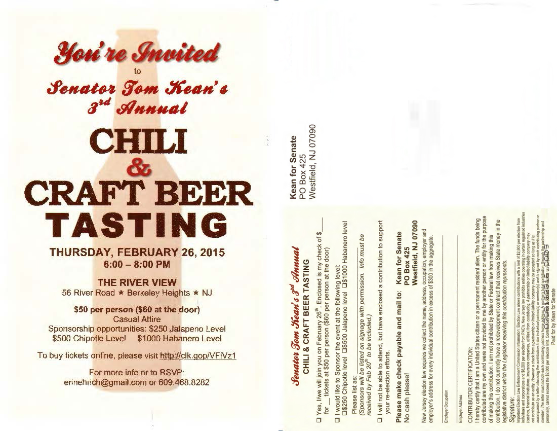 Senator Tom Kean's 3rd Annual Chili & Craft Beer Tasting